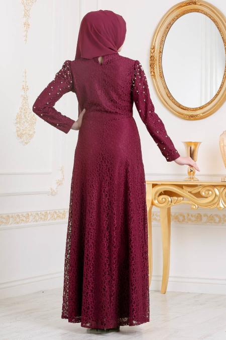 Tesettürlü Abiye Elbise - Boncuk Detaylı Bordo Tesettürlü Abiye Elbise 3130BR