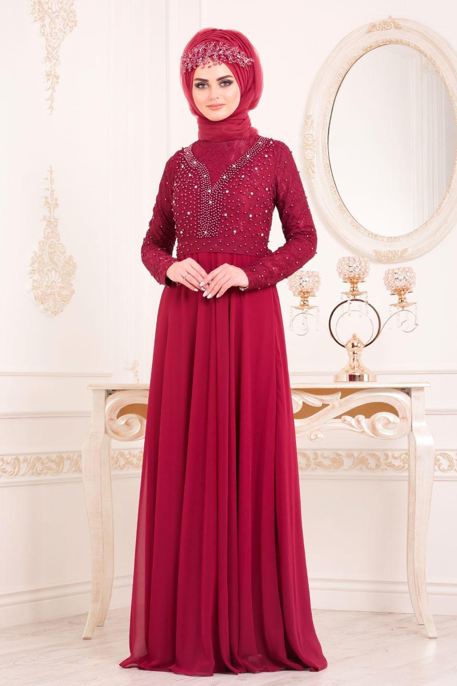 Tesettürlü Abiye Elbise - Boncuk Detaylı Bordo Tesettürlü Abiye Elbise 3291BR