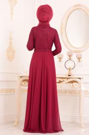 Tesettürlü Abiye Elbise - Boncuk Detaylı Bordo Tesettürlü Abiye Elbise 3291BR - Thumbnail