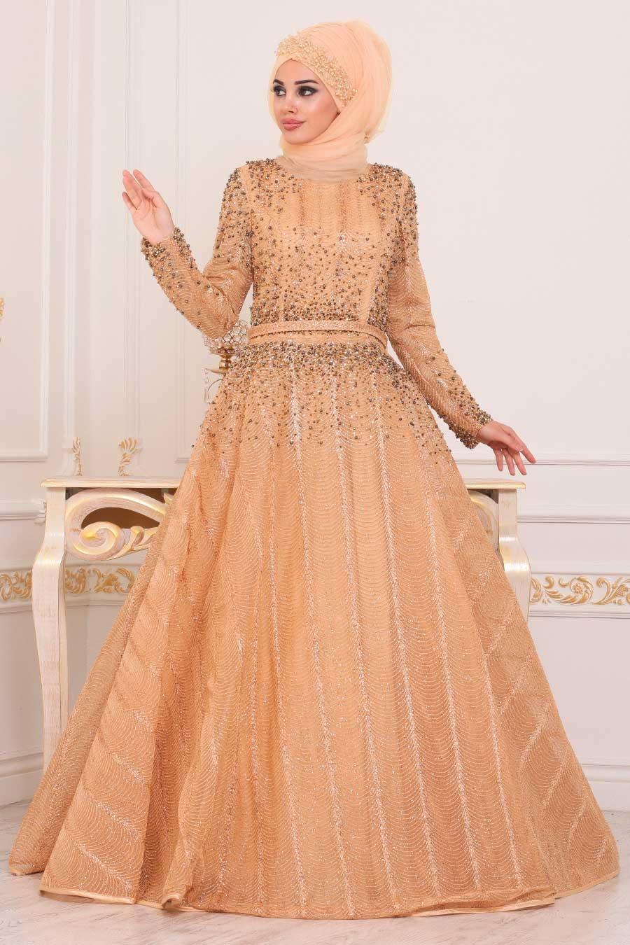 Tesettürlü Abiye Elbise - Boncuk Detaylı Gold Tesettür Abiye Elbise 4691GOLD