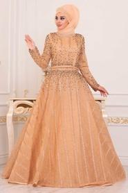 Tesettürlü Abiye Elbise - Boncuk Detaylı Gold Tesettür Abiye Elbise 4691GOLD - Thumbnail