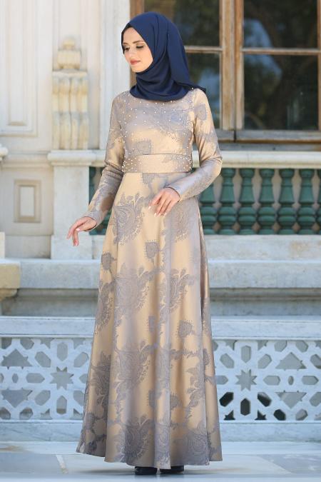 Tesettürlü Abiye Elbise - Boncuk Detaylı Gold Tesettür Abiye Elbise 7642GOLD