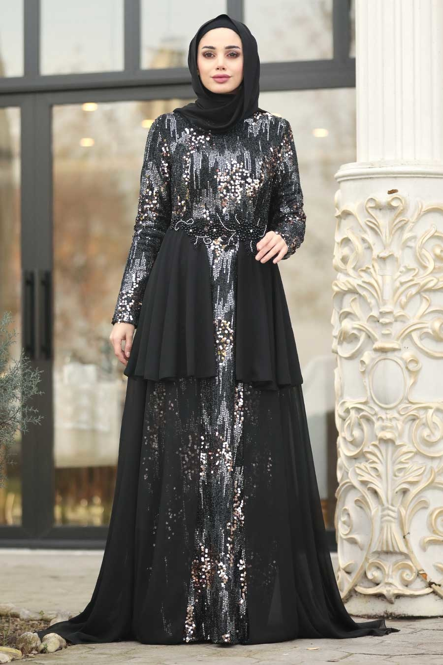 Tesettürlü Abiye Elbise - Boncuk Detaylı Siyah Tesettür Abiye Elbise 87201S