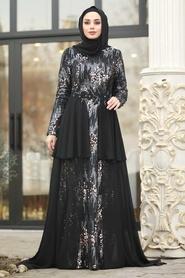 Tesettürlü Abiye Elbise - Boncuk Detaylı Siyah Tesettür Abiye Elbise 87201S - Thumbnail