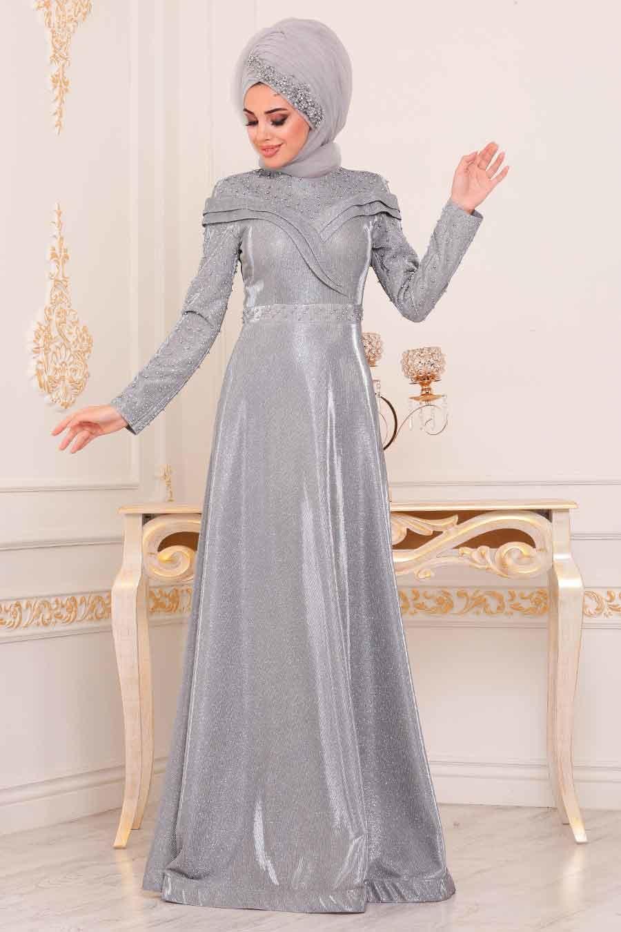 Tesettürlü Abiye Elbise - Boncuk Detaylı Gri Tesettür Abiye Elbise 21101GR