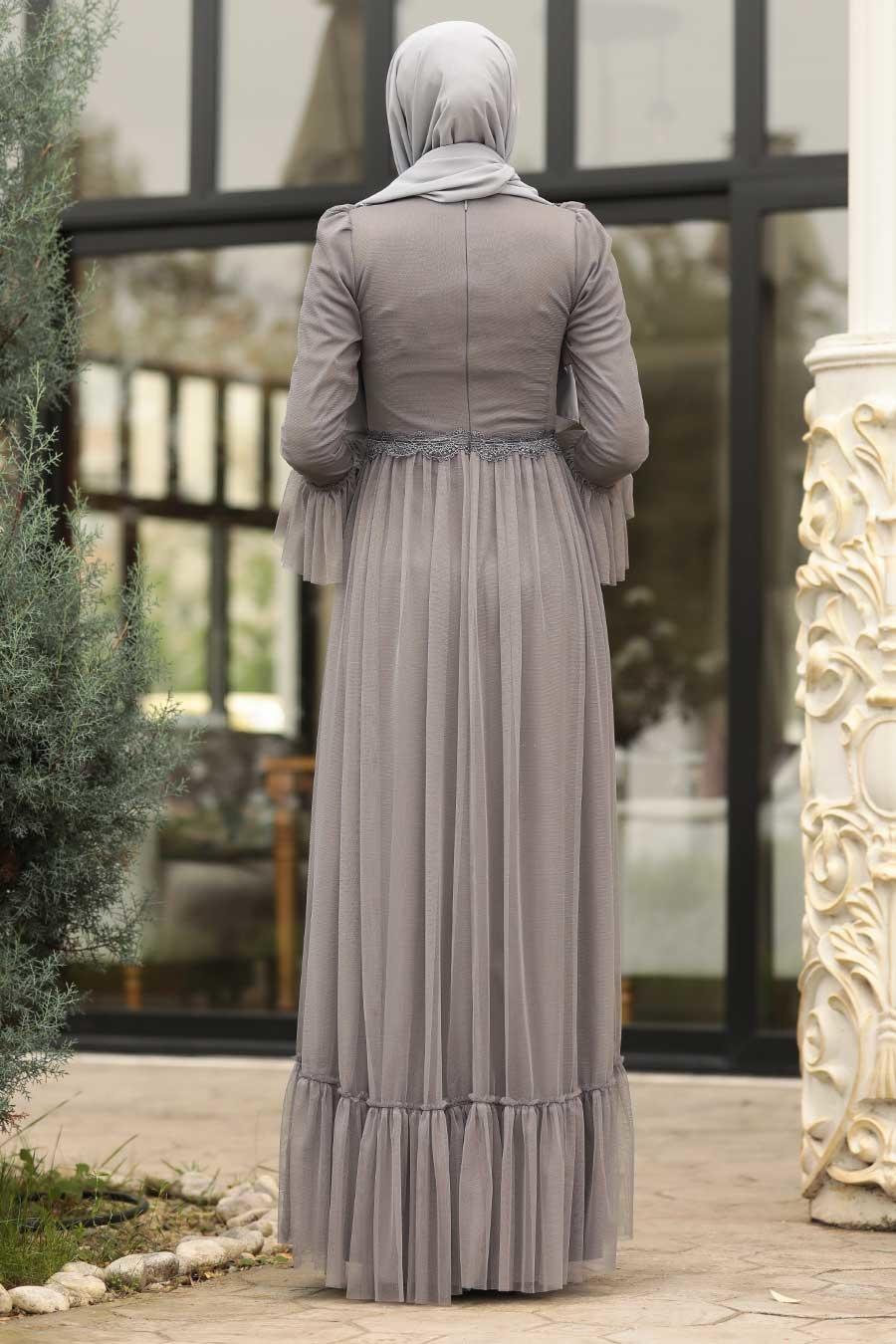 Tesettürlü Abiye Elbise - Boncuk Detaylı Gri Tesettür Abiye Elbise 38980GR