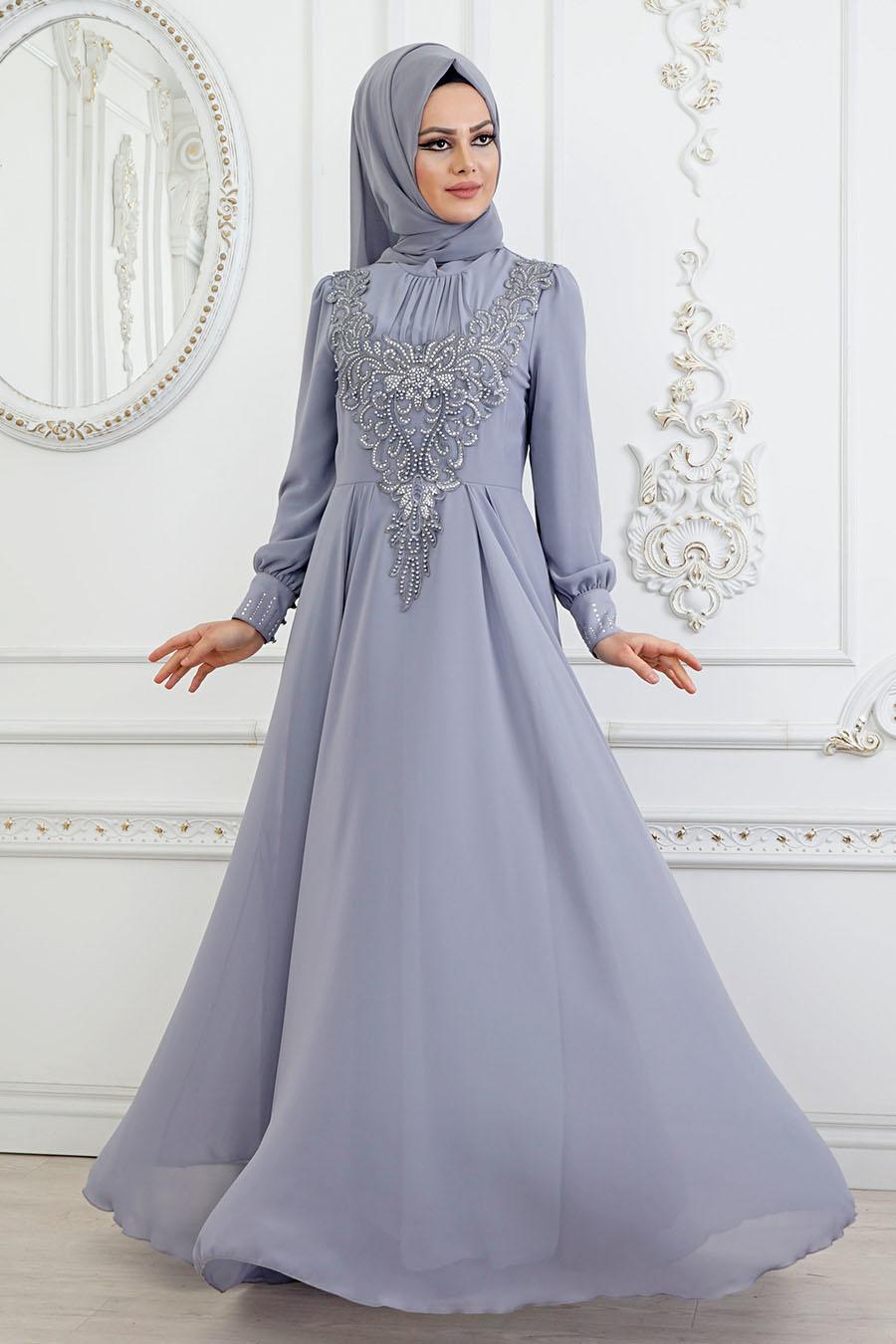 Tesettürlü Abiye Elbise - Boncuk Detaylı Gri Tesettür Abiye Elbise 84790GR