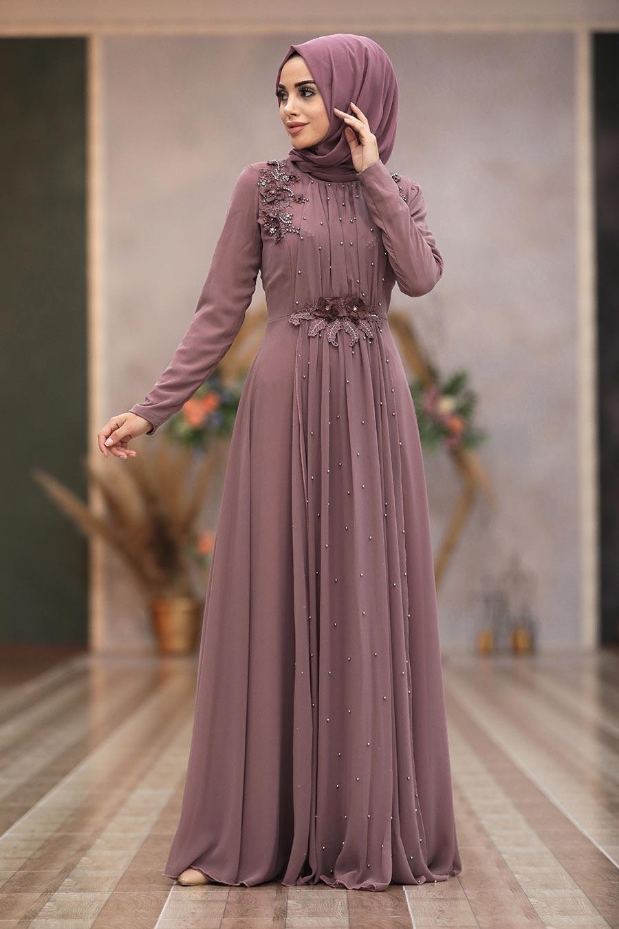 Tesettürlü Abiye Elbise - Boncuk Detaylı Gül Kurusu Tesettür Abiye Elbise 50030GK