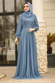 Tesettürlü Abiye Elbise - Boncuk Detaylı İndigo Mavisi Tesettür Abiye Elbise 39490IM - Thumbnail