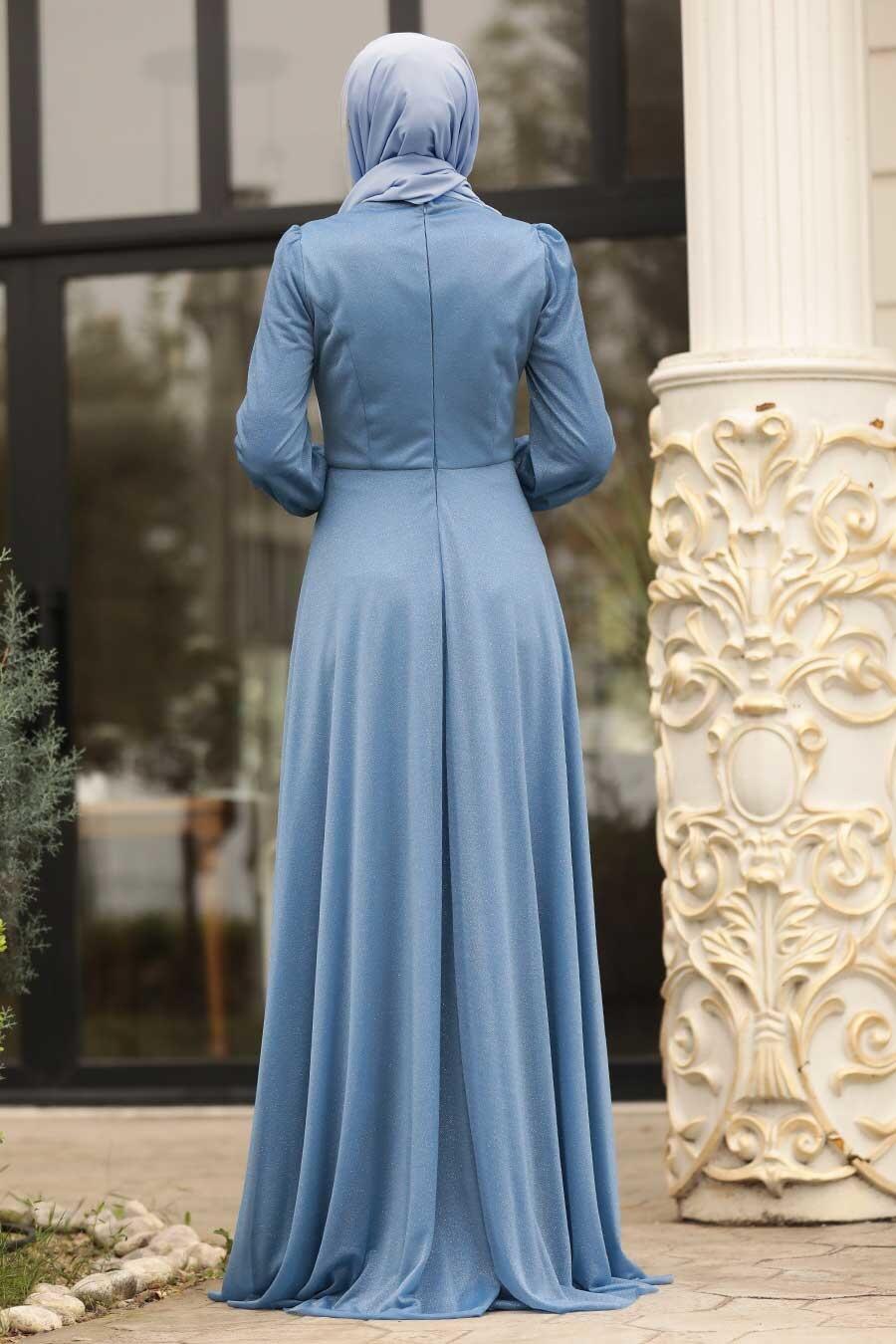 Tesettürlü Abiye Elbise - Boncuk Detaylı İndigo Mavisi Tesettür Abiye Elbise 39490IM