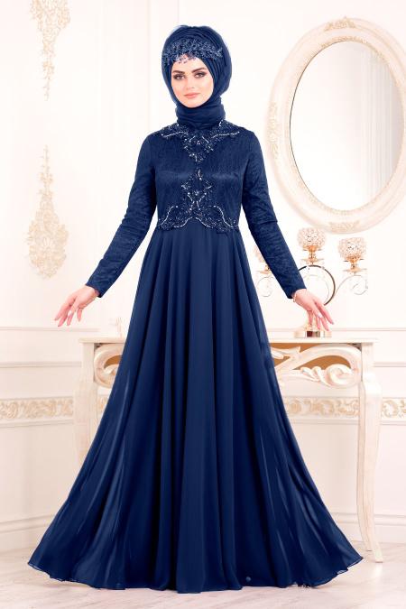 Tesettürlü Abiye Elbise - Boncuk Detaylı Lacivert Tesettür Abiye Elbise 8129L
