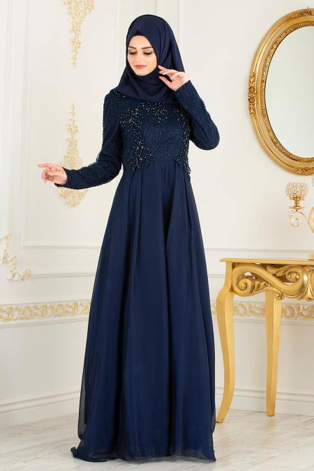 Tesettürlü Abiye Elbise - Boncuk Detaylı Lacivert Tesettürlü Abiye Elbise 36791L
