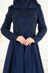 Tesettürlü Abiye Elbise - Boncuk Detaylı Lacivert Tesettürlü Abiye Elbise 36791L - Thumbnail