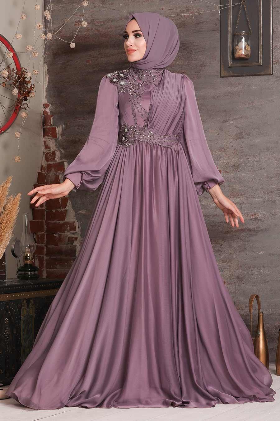 Tesettürlü Abiye Elbise - Boncuk Detaylı Lila Tesettür Abiye Elbise 21650LILA