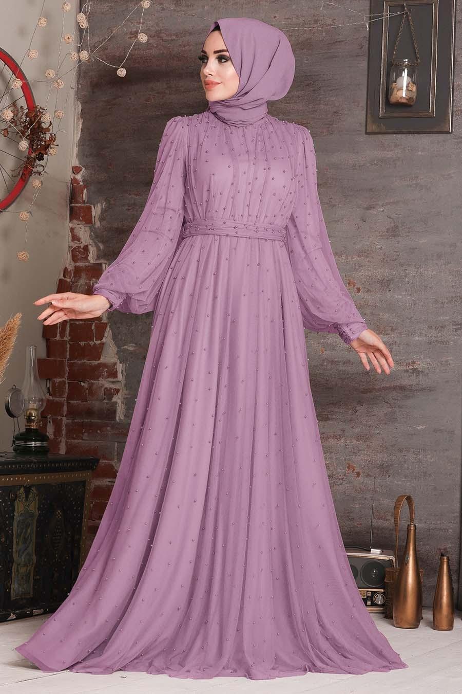Tesettürlü Abiye Elbise - Boncuk Detaylı Lila Tesettür Abiye Elbise 2176LILA
