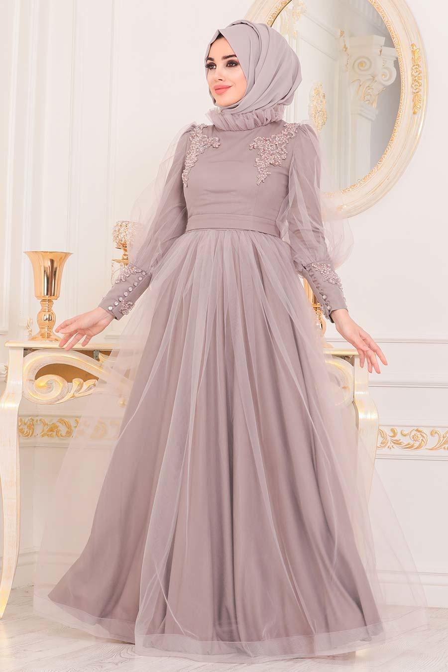Tesettürlü Abiye Elbise - Boncuk Detaylı Lila Tesettür Abiye Elbise 40320LILA