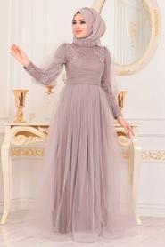 Tesettürlü Abiye Elbise - Boncuk Detaylı Lila Tesettür Abiye Elbise 40320LILA - Thumbnail