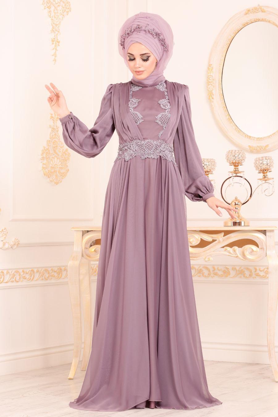 Tesettürlü Abiye Elbise - Boncuk Detaylı Lila Tesettürlü Abiye Elbise 37331LILA
