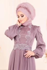 Tesettürlü Abiye Elbise - Boncuk Detaylı Lila Tesettürlü Abiye Elbise 37331LILA - Thumbnail