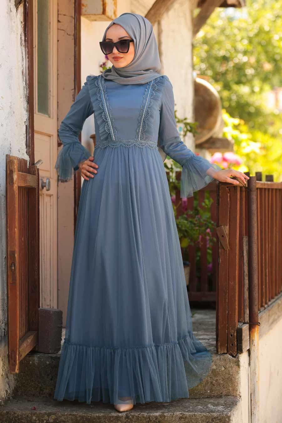Tesettürlü Abiye Elbise - Boncuk Detaylı Mavi Tesettür Abiye Elbise 38980M