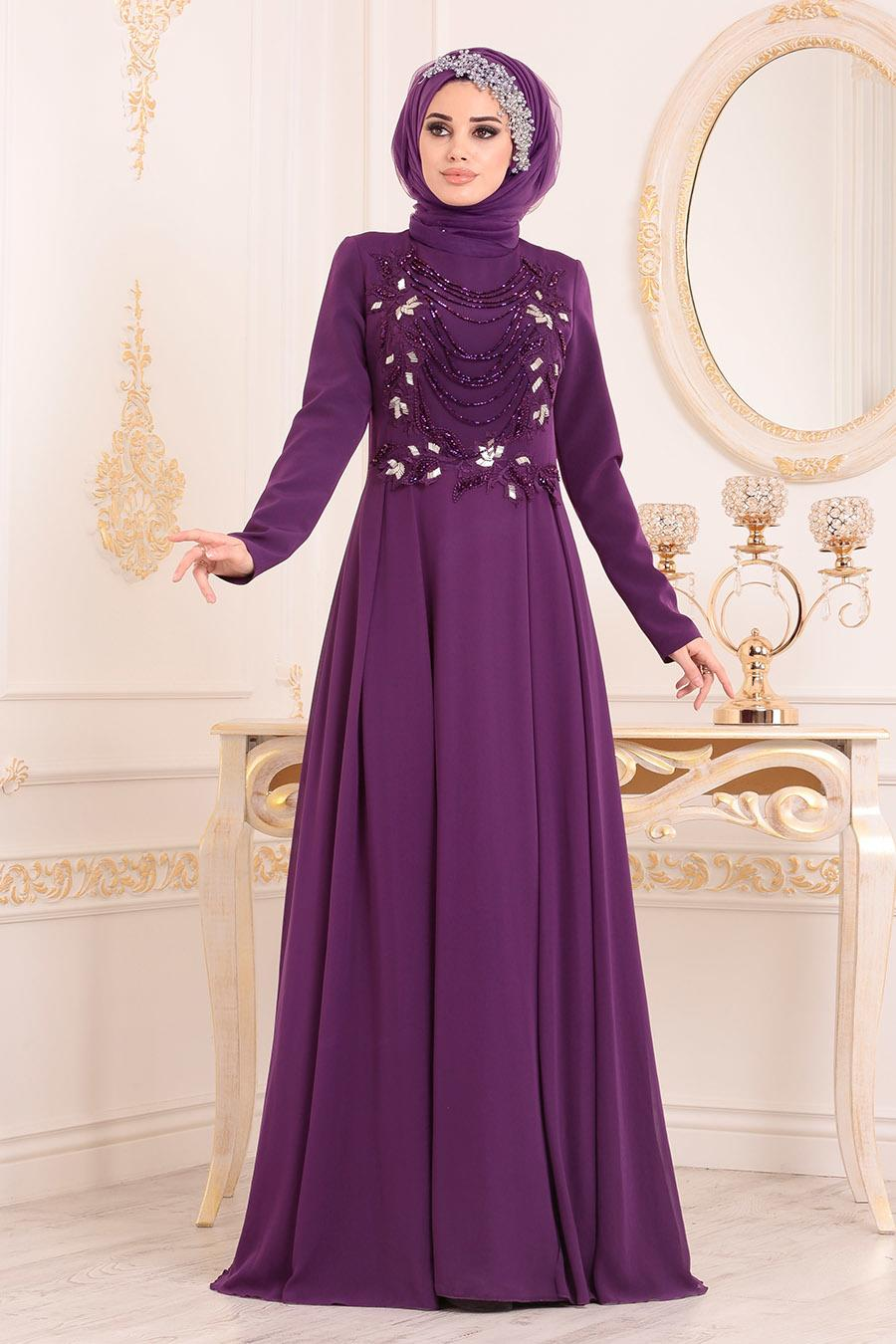 Tesettürlü Abiye Elbise - Boncuk Detaylı Mor Tesettür Abiye Elbise 20510MOR
