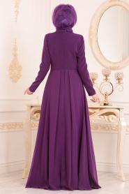 Tesettürlü Abiye Elbise - Boncuk Detaylı Mor Tesettür Abiye Elbise 20510MOR - Thumbnail