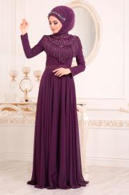 Tesettürlü Abiye Elbise - Boncuk Detaylı Mor Tesettür Abiye Elbise 20901MOR - Thumbnail