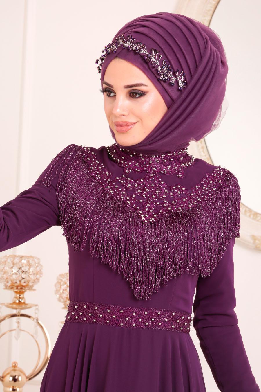 Tesettürlü Abiye Elbise - Boncuk Detaylı Mor Tesettür Abiye Elbise 20901MOR
