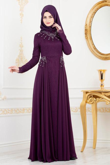 Tesettürlü Abiye Elbise - Boncuk Detaylı Mor Tesettür Abiye Elbise 8057MOR