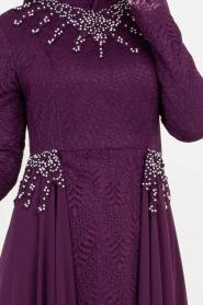 Tesettürlü Abiye Elbise - Boncuk Detaylı Mor Tesettür Abiye Elbise 8057MOR - Thumbnail