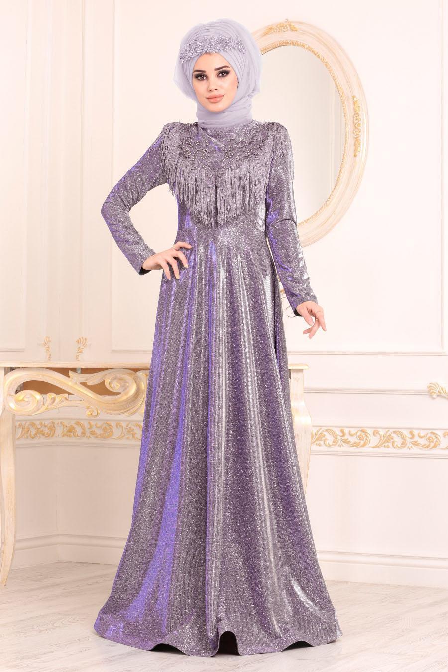 Tesettürlü Abiye Elbise - Boncuk Detaylı Mürdüm Tesettür Abiye Elbise 20670MU