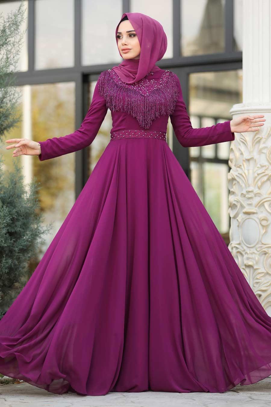 Tesettürlü Abiye Elbise - Boncuk Detaylı Mürdüm Tesettür Abiye Elbise 20901MU