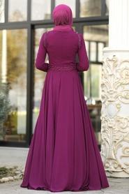Tesettürlü Abiye Elbise - Boncuk Detaylı Mürdüm Tesettür Abiye Elbise 20901MU - Thumbnail