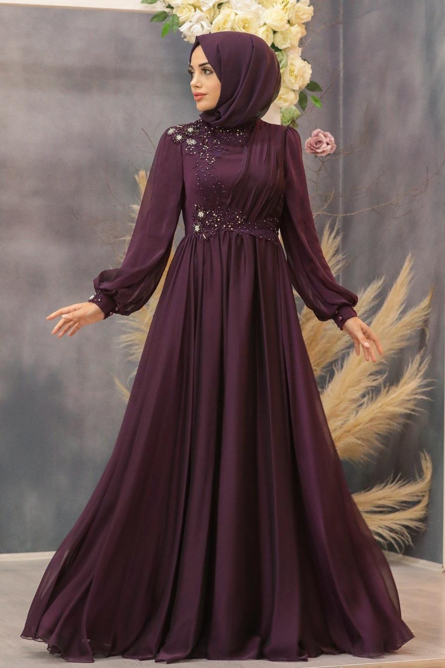 Tesettürlü Abiye Elbise - Boncuk Detaylı Mürdüm Tesettür Abiye Elbise 21650MU