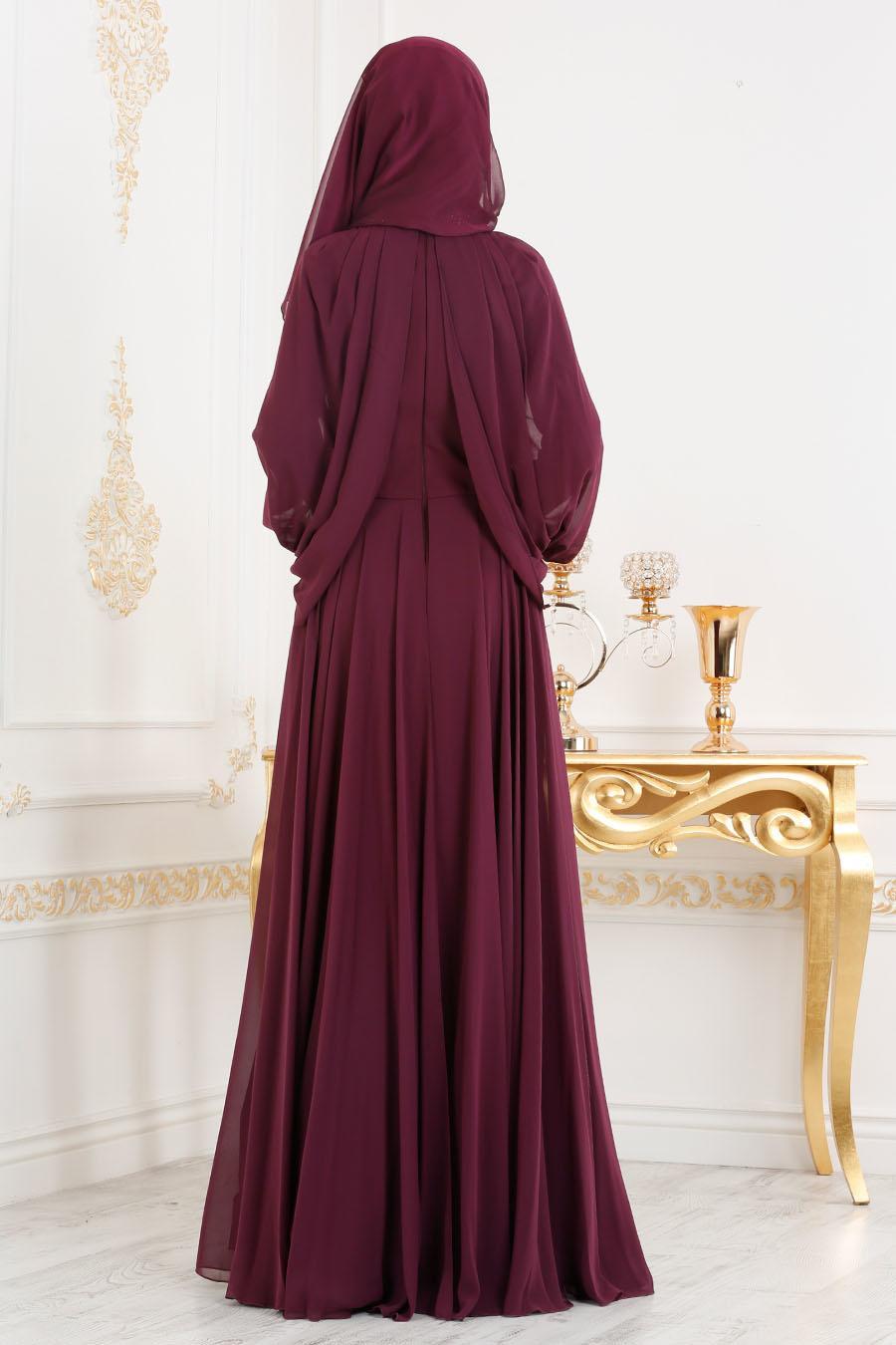 Tesettürlü Abiye Elbise - Boncuk Detaylı Mürdüm Tesettür Abiye Elbise 46230MU