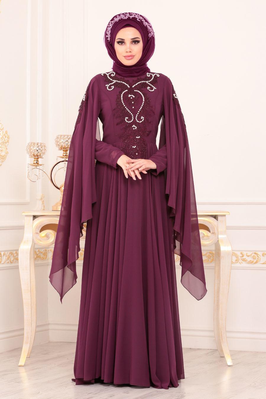 Tesettürlü Abiye Elbise - Boncuk Detaylı Mürdüm Tesettürlü Abiye Elbise 8485MU