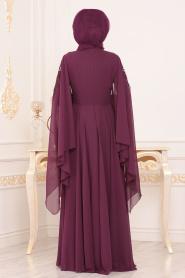 Tesettürlü Abiye Elbise - Boncuk Detaylı Mürdüm Tesettürlü Abiye Elbise 8485MU - Thumbnail