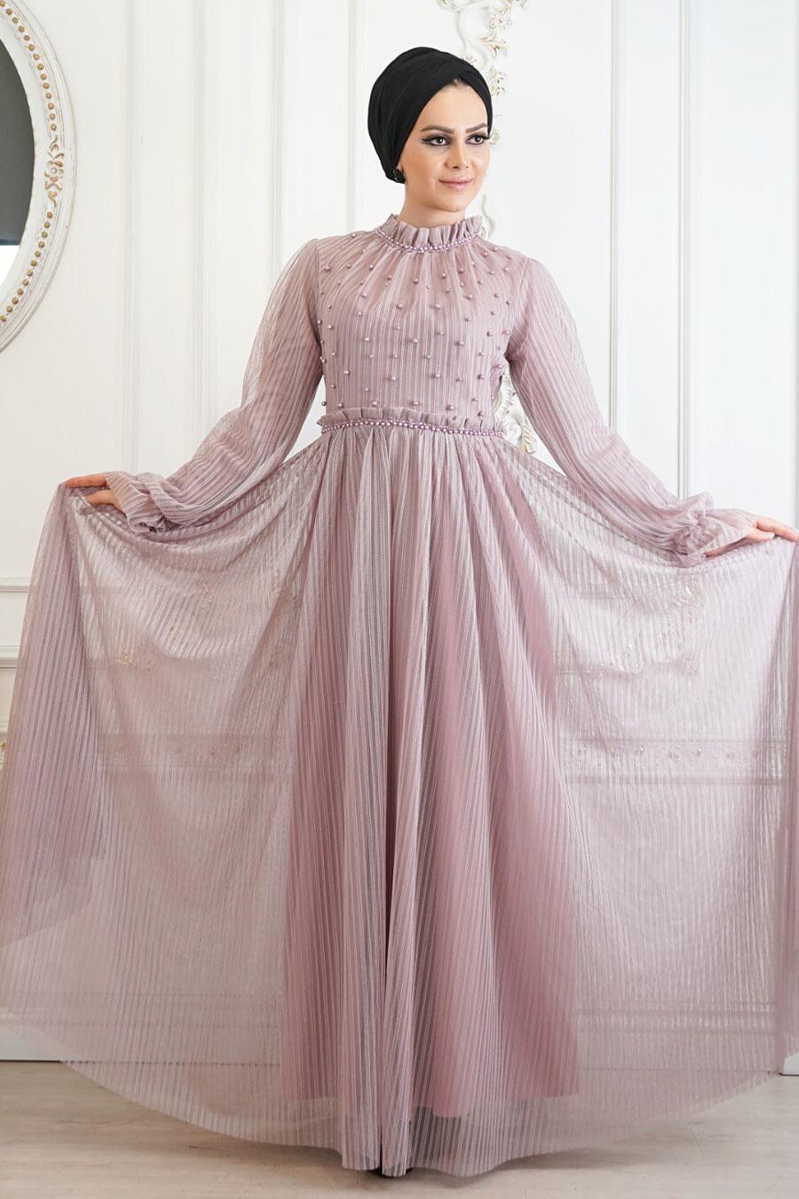 Tesettürlü Abiye Elbise - Boncuk Detaylı Pudra Tesettür Abiye Elbise 22450PD