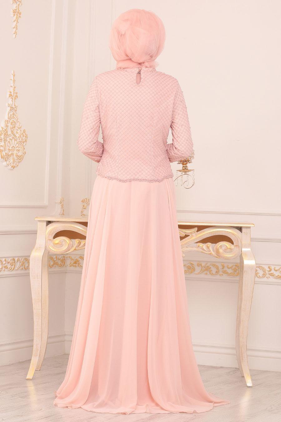Tesettürlü Abiye Elbise - Boncuk Detaylı Pudra Tesettür Abiye Elbise 3126PD