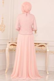 Tesettürlü Abiye Elbise - Boncuk Detaylı Pudra Tesettür Abiye Elbise 3126PD - Thumbnail