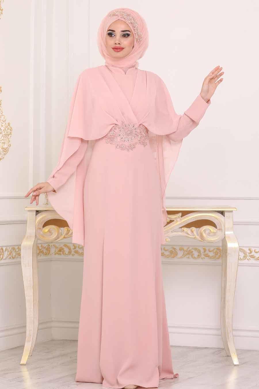 Tesettürlü Abiye Elbise - Dantel Detaylı Pudra Tesettür Abiye Elbise 39170PD