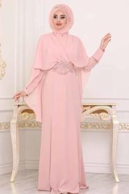 Tesettürlü Abiye Elbise - Dantel Detaylı Pudra Tesettür Abiye Elbise 39170PD - Thumbnail