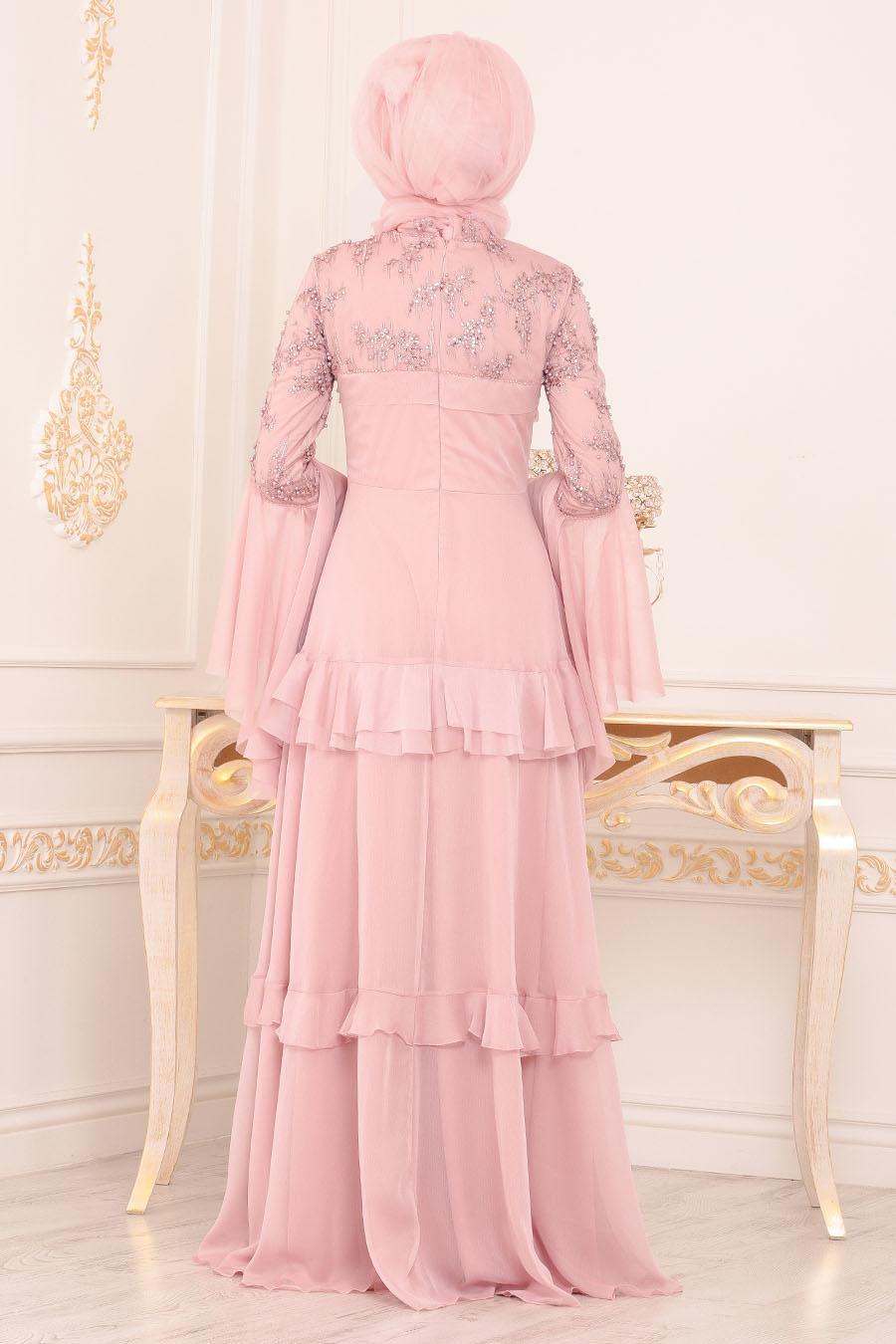 Tesettürlü Abiye Elbise - Boncuk Detaylı Pudra Tesettürlü Abiye 190501PD