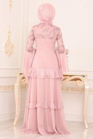 Tesettürlü Abiye Elbise - Boncuk Detaylı Pudra Tesettürlü Abiye 190501PD - Thumbnail