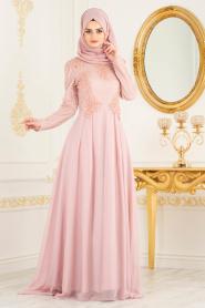 Tesettürlü Abiye Elbise - Boncuk Detaylı Pudra Tesettürlü Abiye Elbise 36791PD - Thumbnail