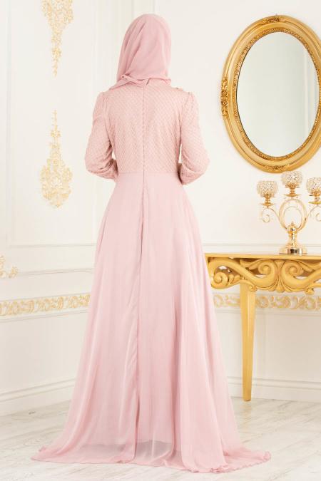Tesettürlü Abiye Elbise - Boncuk Detaylı Pudra Tesettürlü Abiye Elbise 36791PD