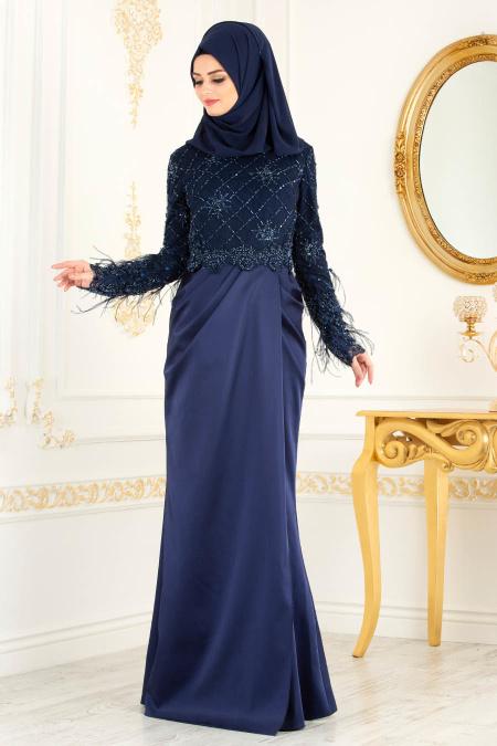 Tesettürlü Abiye Elbise - Boncuk Detaylı Püsküllü Lacivert Tesettür Abiye Elbise 45620L