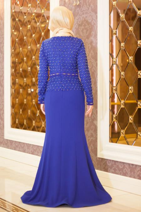 Tesettürlü Abiye Elbise - Boncuk Detaylı Sax Mavi Balık Elbise