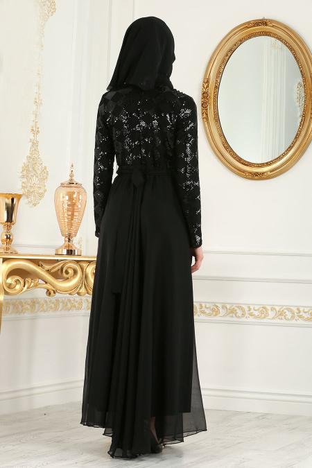 Tesettürlü Abiye Elbise - Boncuk Detaylı Siyah Tesettür Abiye Elbise 79440S