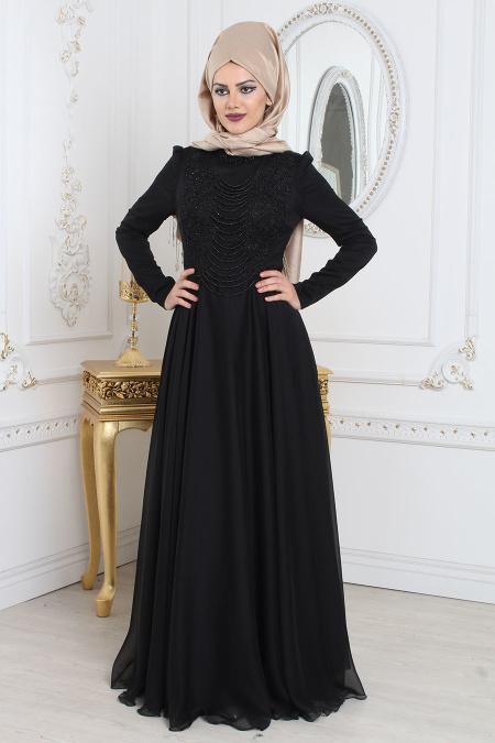 Tesettürlü Abiye Elbise - Boncuk Detaylı Siyah Tesettür Abiye Elbise 7954S